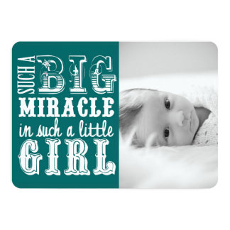 Teal Miracle Girl | Photo Birth Announcement