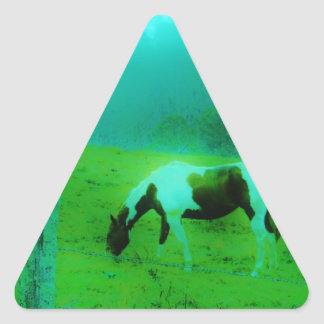 Teal mist Reto colored painted pony Horse Triangle Sticker