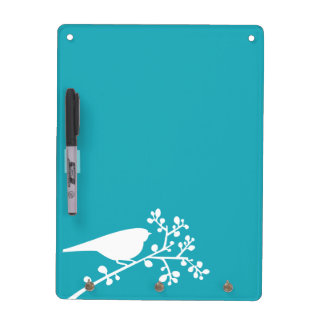 Teal Mod Single Bird and Berries Dry-Erase Board