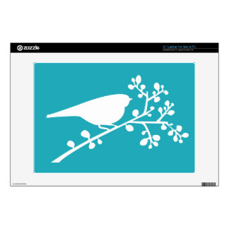 Teal Mod Single Bird & Berries {pick your color} Skins For Laptops
