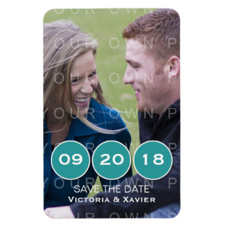 Teal Modern Circles Photo Save the Date Magnet