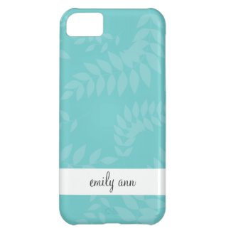Teal Modern Foliage Ferns Cover For iPhone 5C