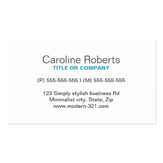 Teal modern generic simple elegant personal Double-Sided standard business cards (Pack of 100)
