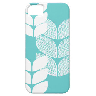 Teal Modern Leaves Iphone 5 Case