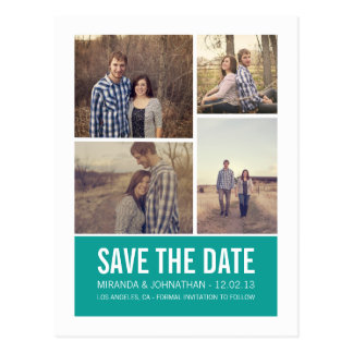 Teal Modern Photo Save The Date Post Cards