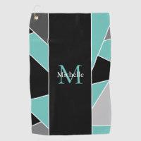 Teal Monogram Abstract Geometric Ladies Golf Towel
