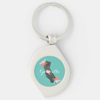 Teal Monogram California State & Moveable Heart Keychain
