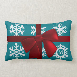 Teal Monogram Christmas Gift Red Bow Lumbar Lumbar Pillow
