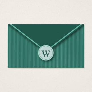 Teal Monogram Elegant Envelope Business Cards