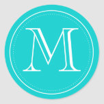 Teal Monogram Envelope Seal by Origami Prints Classic Round Sticker