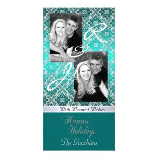 Teal Monogram Lace Holiday Ribbon Photo Card
