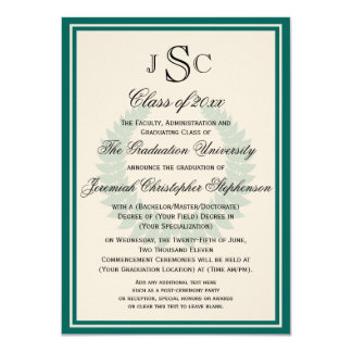 Teal Monogram Laurel Classic College Graduation Card