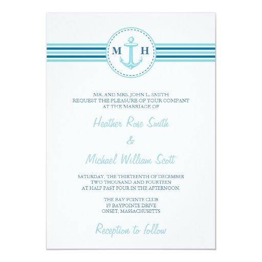 Teal Monogram Nautical Theme Wedding Invitation