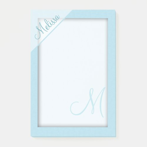 Teal Monogram Post-it Notes