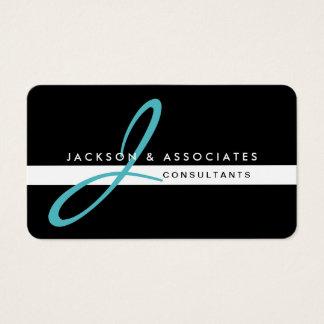 Teal Monogram Professional Simple Business Card
