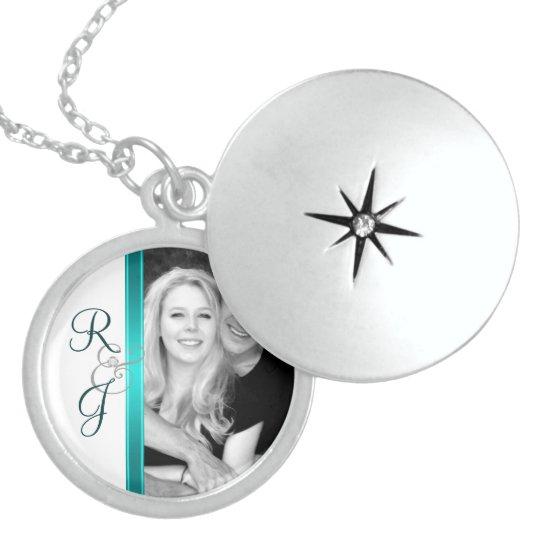 Teal Monogram Silver Wedding Necklace