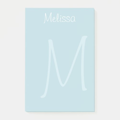 Teal Monogram Watermark Post-it Notes