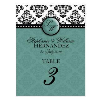 Teal Monogram Wedding Reception Table Number Postcard