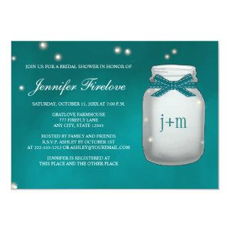Teal Monogrammed Firefly Mason Jar Bridal Shower 5x7 Paper Invitation Card