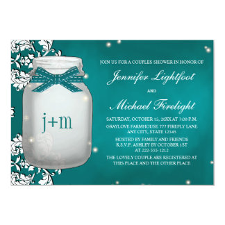 Teal Monogrammed Firefly Mason Jar Couples Shower Card