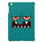 Teal Monster Face, Big Nose Sharp Fangs iPad Mini Cover
