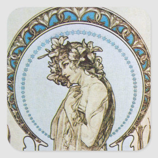 Teal Moon Goddess Square Stickers