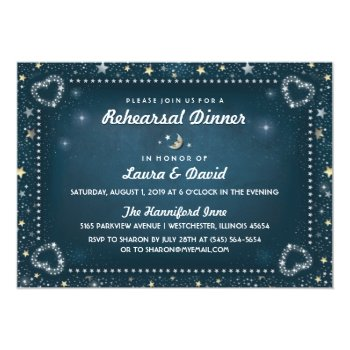 Teal Moon & Stars Gold & White Rehearsal Dinner 5x7 Paper Invitation Card by juliea2010 at Zazzle