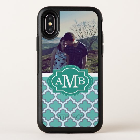Teal Moroccan Pattern | Monogram | Photo OtterBox Symmetry iPhone X Case