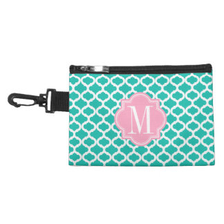 Teal Moroccan Pattern with Pink Monogram Accessory Bag