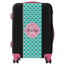 Teal Moroccan Pattern with Pink Monogram Luggage