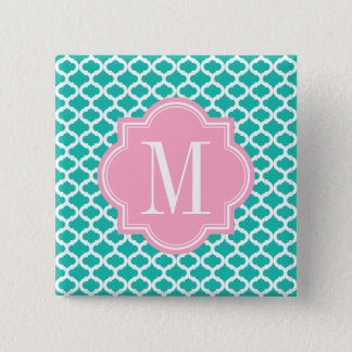 Teal Moroccan Pattern with Pink Monogram Pinback Button