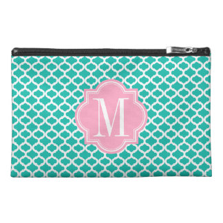 Teal Moroccan Pattern with Pink Monogram Travel Accessory Bag