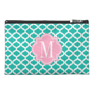 Teal Moroccan Pattern with Pink Monogram Travel Accessory Bags