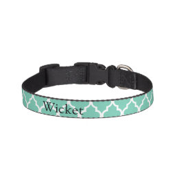 Teal Moroccan Print Pet Collar