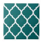 Teal Moroccan Quatrefoil Patterned Ceramic Tile