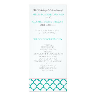 Teal Moroccan Wedding Ceremony Program