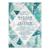 Teal Mosaic Marble Triangles Wedding Invitation