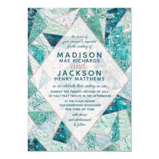 Teal Mosaic Marble Triangles Wedding Invitation