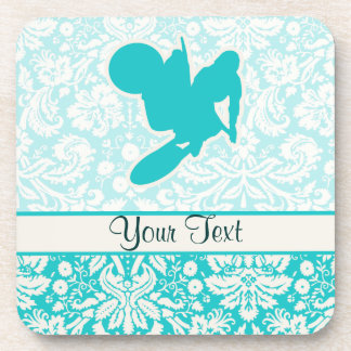 Teal Motocross Whip Drink Coasters