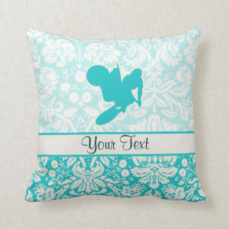Teal Motocross Whip Throw Pillow