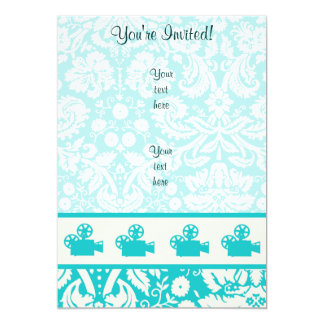 Teal Movie Camera 5x7 Paper Invitation Card