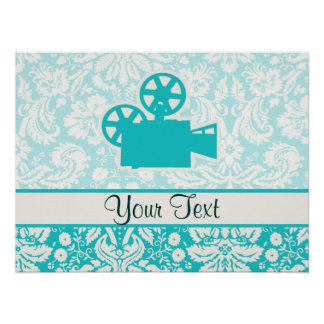 Teal Movie Camera Poster