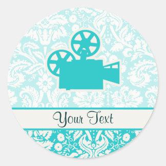 Teal Movie Camera Classic Round Sticker