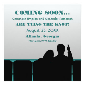 Teal Movie Theater Save the Date Card