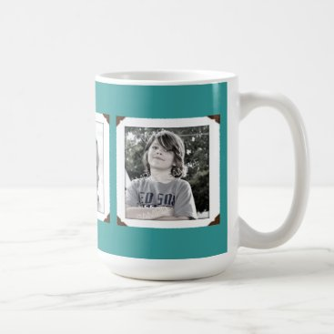 Coffee Themed Teal Multi-Photo Gift Mug for Mom or Dad