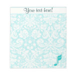 Teal Music Note Memo Note Pad