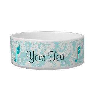 Teal Music Note Pet Water Bowls