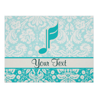 Teal Music Note Poster
