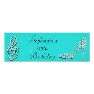Teal Music Notes and Stiletto 25th Birthday Poster