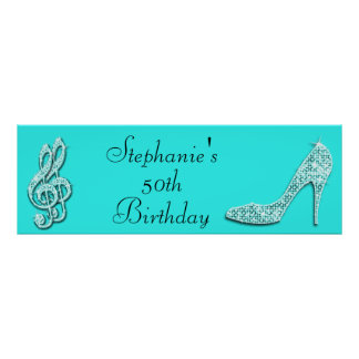 Teal Music Notes and Stiletto 50th Birthday Poster